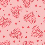 Seamless pattern with pink hearts. Branches with leaves in the heart. Valentine day. Seamless pattern with pink hearts on pink background. Branches with leaves Vector Illustration