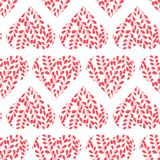 Seamless pattern with pink hearts. Branches with leaves in the heart. Valentine day. Seamless pattern with pink hearts on white background. Branches with leaves Stock Illustration