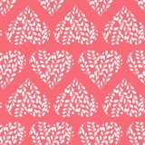 Seamless pattern with pink hearts. Branches with leaves in the heart. Valentine day. Seamless pattern withwhite hearts on pink background. Branches with leaves royalty free illustration