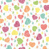 Seamless pattern with pink hearts and confetti. Valentine Day ba Stock Photo