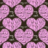 Seamless pattern of pink hearts decorated with cats. Seamless pattern of pink hearts decorated with cats and inscriptions about love. Vector image on a dark stock illustration