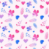 Seamless pattern of pink hearts and floral elements. Royalty Free Stock Photos