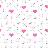 Seamless pattern with pink hearts, golden bow and arrows. Vector texture in flat style. royalty free illustration