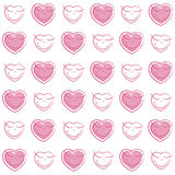 Seamless pattern of pink hearts Stock Photos