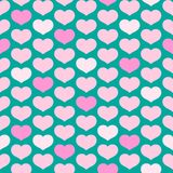 Seamless pattern from pink hearts on a turquoise background Decorative ornament of hearts for design of templates greeting cards vector illustration