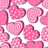 Seamless pattern with pink hearts Valentine's Day Royalty Free Stock Images
