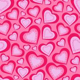 Seamless pattern of pink hearts Royalty Free Stock Photography