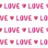 Seamless pattern with pink hearts and word LOVE. Seamless pattern with watercolor hand drawn hearts and word LOVE isolated on white background Stock Photos