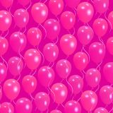 Seamless pattern with pink helium balloons Happy Valentine`s day. For textile, wallpaper, wrapping, web backgrounds and other pattern fills Stock Photography