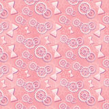 Seamless pattern of pink hourglass and gears.  Royalty Free Stock Photography