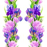 Seamless pattern pink irises on a white blue-purple background stock images