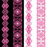 Seamless pattern with pink lace ornaments Stock Photos