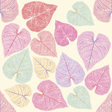 Seamless Pattern with pink leaves Royalty Free Stock Photography
