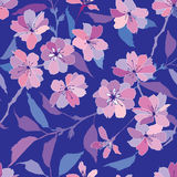 Seamless pattern with pink and lilac  flowers Stock Images