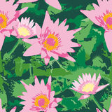 Seamless pattern with pink lotus flowers and green leaves. vecto Stock Photo