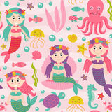 Seamless pattern pink with mermaid and marine animals Stock Photos