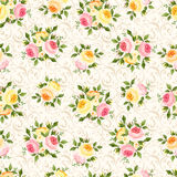 Seamless pattern with pink, orange and yellow rose royalty free illustration