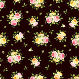 Seamless pattern with pink, orange and yellow roses on brown. Vector illustration. Royalty Free Stock Image