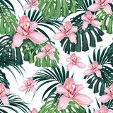 Seamless pattern of pink orchid flower and tropical leaves on white background. Vector set of exotic tropical garden for holiday invitations, greeting card and royalty free illustration