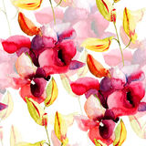 Seamless pattern with Pink orchids flowers Royalty Free Stock Images