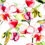 Seamless pattern with Pink orchids flowers Stock Photography