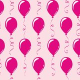 Seamless pattern pink party balloons royalty free illustration