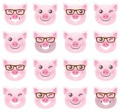 Seamless pattern with pink pigs, symbol of 2019 vector illustration