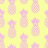 Seamless pattern with pink pineapples on a yellow background. Vector illustration. Exotic summer print. Colorful gradient fruit pa. Ttern. Cute tropical elements Stock Photos