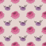 Seamless pattern with pink and purple flowers. On background. Retro vector illustration Royalty Free Stock Images