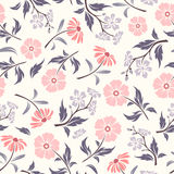 Seamless pattern with pink and purple flowers. Vector illustration. Stock Images