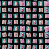 Seamless pattern pink, purple, orange, teal Russian dolls matryoshka on black background. Vector Stock Photo