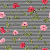 Seamless pattern with pink and red poppy flowers in botanical st Royalty Free Stock Images