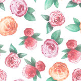 Seamless pattern with pink and red roses Royalty Free Stock Photos