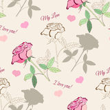 Seamless pattern with pink rose2-1 Stock Photo