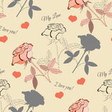 Seamless pattern with pink rose2-4 Royalty Free Stock Photography