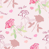 Seamless pattern with pink rose2-2 Royalty Free Stock Image