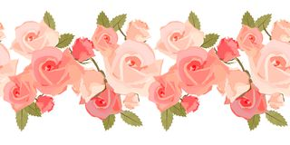 Seamless pattern with pink roses Stock Photo
