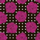 Seamless pattern from pink roses on a black background with whit Stock Photos