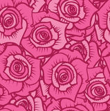 Seamless pattern of pink roses with burgundy lines. Vector illustration.Seamless pattern of pink roses with burgundy lines Stock Image