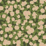 Colorful seamless pattern. Hand drawn pink roses on green background. Seamless pattern with pink roses and green leaves. Hand drawn elements Stock Photo