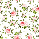 Seamless pattern with pink roses and green leaves. Vector illustration. Royalty Free Stock Photo