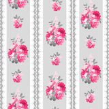 Seamless pattern with pink roses and lace stock illustration