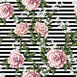 Seamless pattern with pink roses, leaves and white flowers. Vector illustration. stock illustration