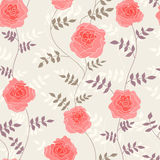 Seamless pattern with pink roses on light tan background Stock Photography