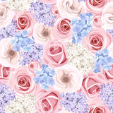 Seamless pattern with pink roses and lilac flowers. Vector illustration. Royalty Free Stock Image