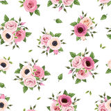 Seamless pattern with pink roses, lisianthus and anemone flowers. Vector illustration. Stock Photography