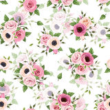 Seamless pattern with pink roses, lisianthus and anemone flowers. Vector illustration. Stock Image