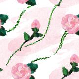 SEAMLESS PATTERN OF PINK ROSES AND PINK WATERCOLOR BACKGROUND royalty free stock photo