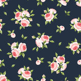 Seamless pattern with pink roses. Vector illustration. Stock Photos