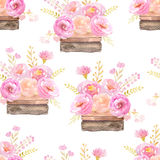 Seamless pattern with pink roses in wood boxes Stock Photography